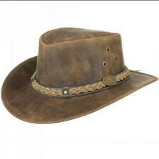 Men's Distress Leather Aussie Bush Western Cowboy Classic Australian Hat- Brown