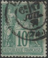 "FRANCE STAMP TIMBRE N° 76 "" SAGE 10c VERT TYPE II "" OBLITERE TB A VOIR  K047"