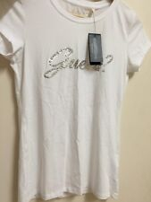 GUESS Women's Tshirt White Short Sleeve Brush Script Logo Tee Size Medium US$34