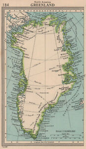 Greenland showing explorers' routes. BARTHOLOMEW 1949 old vintage map chart