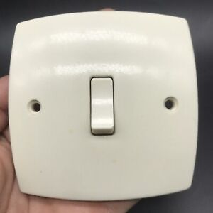 Vintage MEM Light Switch Plate 1 gang Rocker style Off White Mid Modern