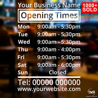 Shop Window Opening Hours Times Customised Personalised Sign Vinyl Decal Sticker