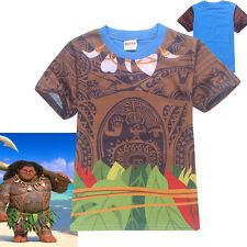 Kids Boys Moana T-shirt Tops Cotton Summer Clothes T shirts 130cm for 7-8Y