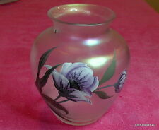 """Erwin Eisch (Flowers & Insects) 8"""" OPALESCENT VASE W/Sticker and etched E mark"""