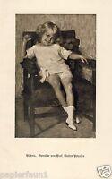 Kinder Bildnis Kunstdruck von 1925 Walter Petersen Kind Mädchen Junge Portrait