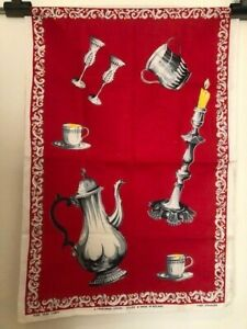 Vintage Red Irish Linen Tea Towel Goblets Coffee Pot Candlestick