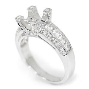 Round Diamond Engagement Ring Semi-Mount 18K White Gold 0.80ctw