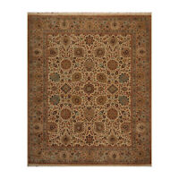 "8' x 9'11"" Hand Knotted Wool Agra 200 KPSI Oriental Area Rug Traditional Beige"