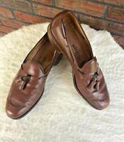 Allen Edmonds Cavalier 9.5 B Tassel Dress Shoes Brown Leather Slip On Loafers