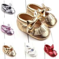 Newborn Baby Girl Toddler Soft Crib Shoes Bow Leather Prewalker Pram Sneakers UK