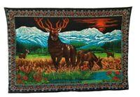 "Vintage LG Tapestry Wall Hanging Rug Elk Buck Deer Lodge Cabin Decor 52.5"" X 35"""