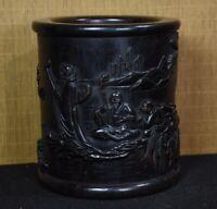Collect old ebony wood carving bodhidharma arhat landscape Brush Pot Pencil Vase