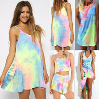 Womens Tie Dye Mini Dresses Holiday Summer Beach Sleeveless Swimwear Sundress