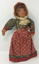 """Vintage Antique Cloth Woman Doll 10 1/2"""" Tall With Bonnet & Wood Shoes"""