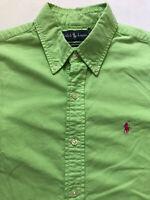 Ralph Lauren Sz M Long Sleeve Button Up Shirt Lime Green Pink Pony