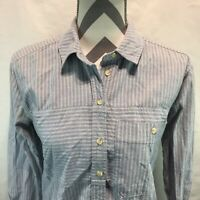 Topshop Moto Light Blue Striped Button Front Long Sleeve Shirt Womens Size 2 AA2