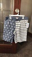 Cat & Jack Boys' Flat Front Chino Shorts U.S.A Chambray Stars & Stripes Blue