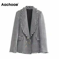 houndstooth tweed style padded shoulder gold buttons double breasted blazer