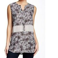 Valette L Blouse Mix Fabric Floral Printed Gray Top Womens Size Large NEW