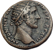 ANTONINUS PIUS 153AD Rome Dupondius Authentic Ancient Roman Coin LIBERTY i63495