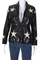 L'Agence Womens Metallic Star Sequin Satin Trim Blazer Black Gold Size 2