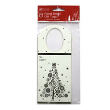 Decorative Foiled Bottle Gift Tags - Pack of 8 with 2 Designs