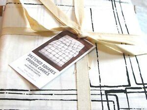 West Elm Sketched Square Duvet Cover TWIN + 1 King Pillow Sham Black + Ivory