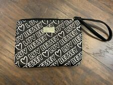 Luv Betsey By Betsey Johnson Black White Hearts Pouch Wristlet -NEW