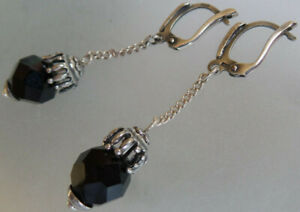 FASHION EARRINGS   BLACK DROP   LEVERBACK AS PICTURE