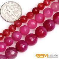 """Magenta Agate Gemstone Faceted Round Loose Spacer Beads For Jewelry Making 15"""""""