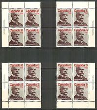 Canada #661, 1975 8c Alphonse Desjardins, 4-Corner PB4 Set Unused NH