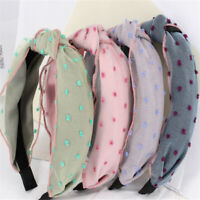 Women New Yarn Soft Pure Casual Headbands Ball Cross Knot Elastic Hair Bands SW