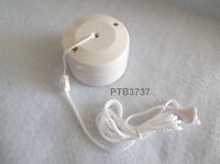 6 AMP LIGHTING PULL SWITCH 250V AC MAX 1 WAY BATHROOM LIGHT SWITCH WHITE by GET