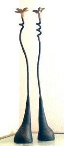 """Pair Hand Forged Wrought Iron Candle Holder Stick tall onion 18"""" brass handmade"""