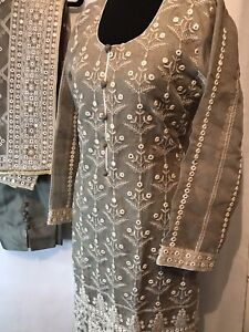 Stitched To Medium Uk Size Bollywood Party/Formal Wear Cotton Net Mirrorwork