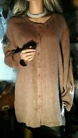 EILEEN FISHER NY LARGE XL100% LINEN LAGENLOOK TUNIC TOP MOCHA SIDE VENTS ARTSY