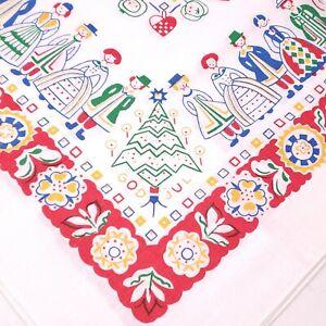 "Vtg Norwegian Sweadish Austrian Folk Polish Boy Girl 35"" Table Cloth Christmas"