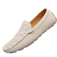 Mens New Fashion Round Toe Flat Faux Leather Soft Flats Casual Loafers Shoes D
