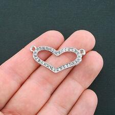 Rhinestone Heart Connector Charm Antique Silver Tone 32 Rhinestones - SC073