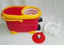 Easy Mocio 360 ° rotazione Spin Magic scopa e Secchio Set Kit di pulizia Rosso-Giallo