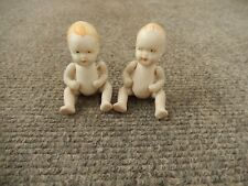 "2 tiny 2.5"" all bisque dolls marked Japan Jointed, painted faces"