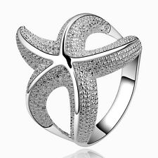hot 925 sterling Solid silver Plated Star is simple rings size7 #208