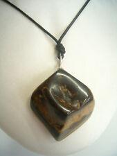 Ciondolo in ARGENTO 925 con OCCHIO DI TIGRE naturale e girocollo - pietra dura -