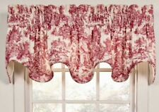 New In Original Packaging Red Toile Essex Rod Pocket Lined Scalloped Valance