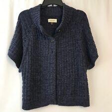 Sonoma Cardigan Style Sweater Womens Medium Dark Blue Short Sleeve Cotton Blend