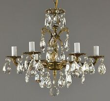 Spanish Brass & Crystal Chandelier c1950 Vintage Antique Restored Ceiling Light