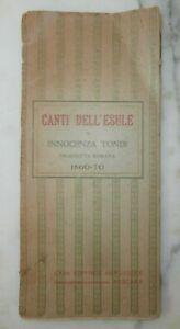 Rarissimo antico libro Massoneria Risorgimento Canti dell'esule Innocenza Tondi