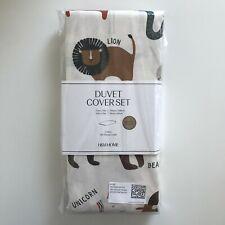 Animals kids single duvet set H&M 135 x 200cm white 100% organic cotton
