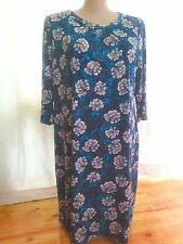 3/4 sleeve SEQUIN Print dinner Party DRESS strong stretch 22 Blue Lagoon floral