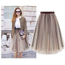 Women Organza Tutu Skirt Pleated Maxi Dress Long Elastic High Waist Full  Pop